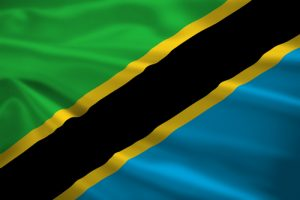 Tanzania flag blowing in the wind. Background texture.